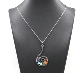 Chakra hanger aan ketting, verzilverd, exclusief design