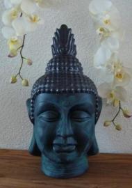 Prachtig smaragdgroen Boeddhahoofd van aardewerk
