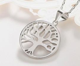 Levensboom hanger van zilver, met ketting