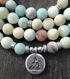 Amazoniet mala ketting of armband met Boeddha bedel