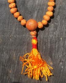 Gebedsmala van geslepen Rudraksha pitten