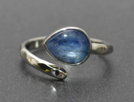Silverplated verstelbare ring met Kyaniet