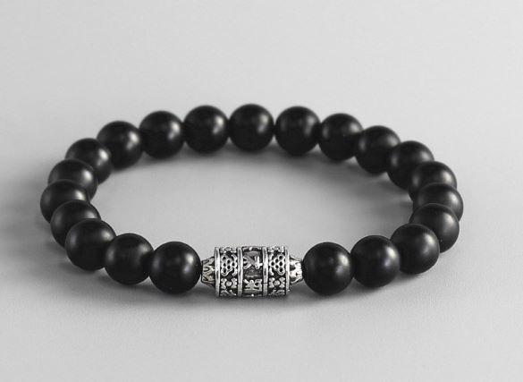 Tibetaanse armband van zwarte Onyx met gebedsmolen