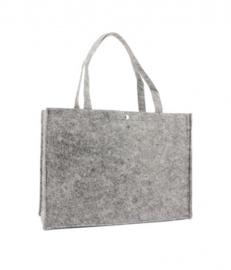 Vilten tas met opdruk lichtgrijs  groot