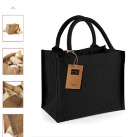 Jute tas klein met opdruk  zwart handvat
