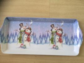 Dienblad Kerst - Sneeuwpoppen klein
