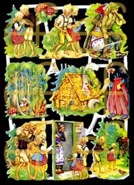 Nostalgische Poezieplaatjes  EF 7026 Sprookje Hans en Grietje 2