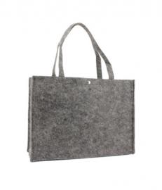 Vilten tas met opdruk donkergrijs  klein