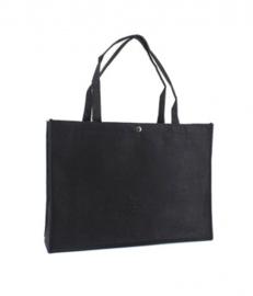Vilten tas met opdruk zwart  groot