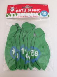 Set 8 st. ballonnen 18 jaar