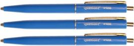 Balpen Quantore drukknop met metalen clip blauw