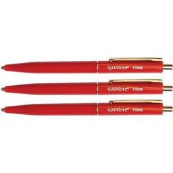 Balpen Quantore drukknop met metalen clip rood