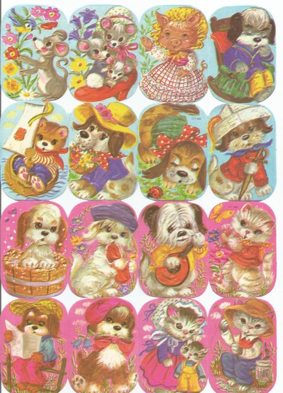 Nostalgische Poezieplaatjes  Kruger 171/295  Knuffelbeestjes
