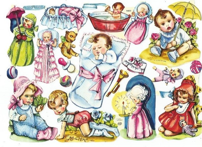 Nostalgische Poezieplaatjes  MLP 1600 Baby's met glitter