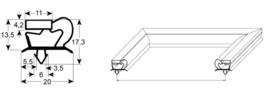Deurrubber Mercatus L2 koelwerkbank 600 x 394 steekmaat