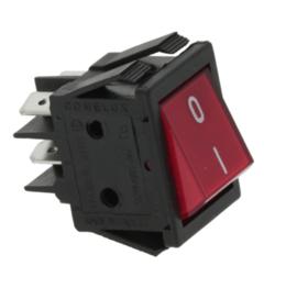 Aan / uit schakelaar rood 4 polig met lamp