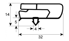 koeldeurrubber profiel 9797 B 350mm L 370mm steekmaat