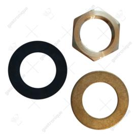 Moer + ring + rubber tbv bladmontage T&S kraan (SET)