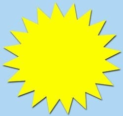 Ster fluor geel 7cm 50st Tfr07016S