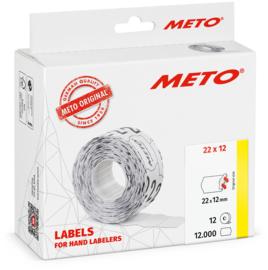 Prijsetiket Meto wit permanent 22x12mm Tpk522371