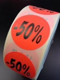Etiket Ø27mm fluor rood -50% 500/rol Td27511450