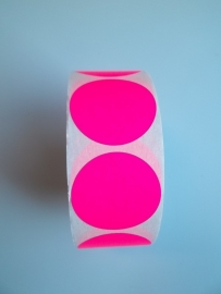 Prijssticker Ø25mm fluor roze 1000/rol Thw032025