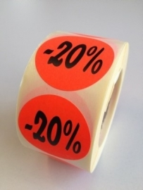 Etiket Ø35mm fluor rood 20% 500/rol Td27511720
