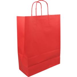 Papieren draagtas rood 26/12x35cm Tpk270617