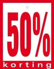 Geponste prijskaart 50% Korting 100st Tfr4550