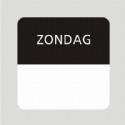 Etiket zondag wit/zwart 25x25mm 500st Td27510007
