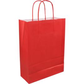 Papieren draagtas rood 22/10x31cm Tpk270616