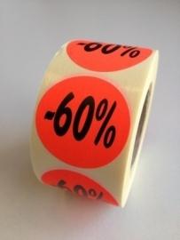 Etiket Ø35mm fluor rood 60% 500/rol Td27511760