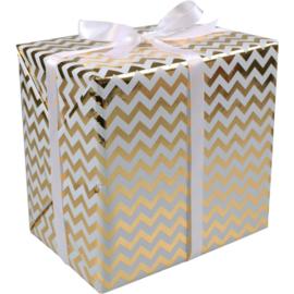Cadeaupapier wit-goud 30cm 200m Tpk349223