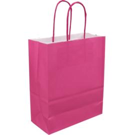 Draagtas papier roze 18/8x22cm Tpk270620