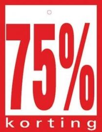 Geponste prijskaart 75% Korting 100st Tfr4575