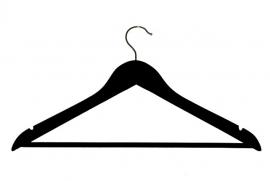 Houten hanger zwart geknikt broeklat inkeping 100st. HH02029