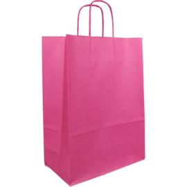 Draagtas papier roze 26/12x35cm Tpk270622