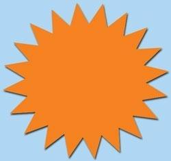 Ster fluor oranje 7cm 50st. Tfr07015S