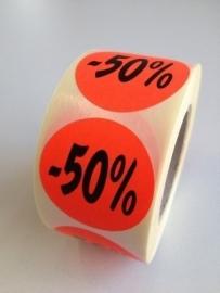Etiket Ø35mm fluor rood 50% 500/rol Td27511750