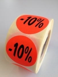 Etiket Ø35mm fluor rood 10% 500/rol Td27511710