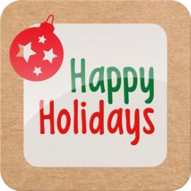 Etiket Happy Holidays 40x40mm 500st Tpk775175