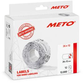 Prijsetiket Meto wit permanent 26x12mm Tpk522375