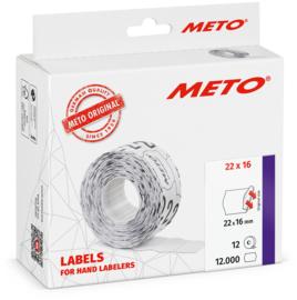 Prijsetiket Meto fluor rood permanent 22x16mm Tpk522381