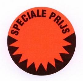 Prijssticker Ø35mm fluor rood Speciale Prijs perm 1000/rol Td27501490