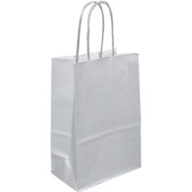 Papieren draagtas zilver 14/8x21cm Tpk270495