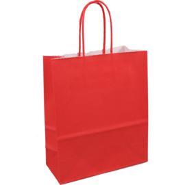 Papieren draagtas rood 18/8x22cn Tpk270615