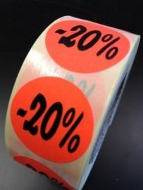Etiket Ø27mm fluor rood -20% 500/rol Td27511420