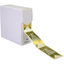 Etiket Kerstboom goud 60x30mm 500st Tpk775225