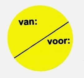 Prijssticker Ø35mm fluor geel Van/Voor 500/rol Td27501692