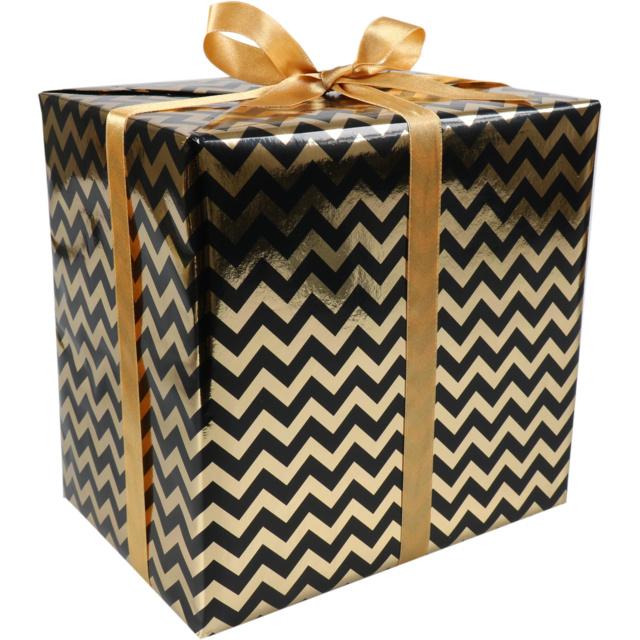 Cadeaupapier zwart-goud 50cm 200m Tpk342015